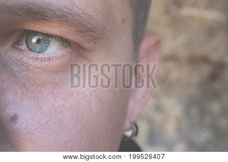 Close Up Man Portrait. Handsome Man Outdoors. Tropical Island Of Bali, Indonesia.
