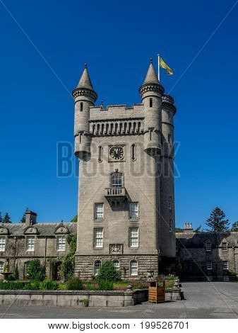 ABERDEENSHIRE, SCOTLAND: JULY 25: Balmoral Castle on July 25, 2017 in Aberdeenshire Scotland. Balmoral Castle is the home of the British Royal Family in Scotland.