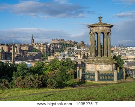 Beautiful view of the city of Edinburgh from Calton Hill.