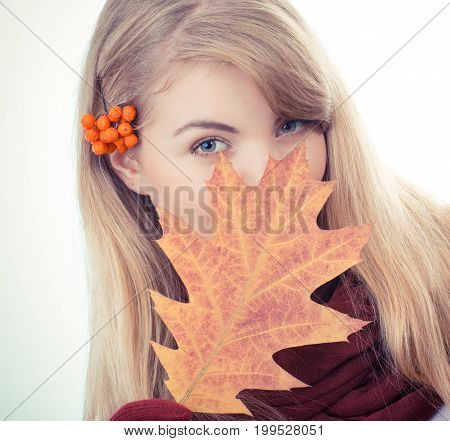 Vintage Photo, Girl With Rowan In Hair Holding Autumnal Leaf