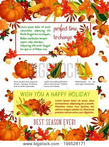 Autumn harvest celebration, Thanksgiving Day poster template. Orange pumpkin vegetable, autumn leaf, garden fruit and forest mushroom, fall foliage of maple, oak tree, acorn, wild berry banner design