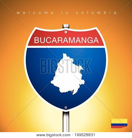 An Sign Road America Style with state of Colombia with Yellow background and message BUCARAMANGA and map vector art image illustration