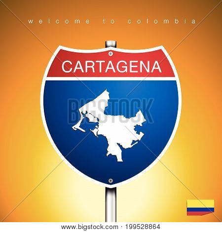 An Sign Road America Style with state of Colombia with Yellow background and message CARTAGENA and map vector art image illustration