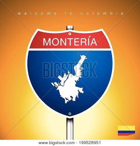 An Sign Road America Style with state of Colombia with Yellow background and message MONTERIA and map vector art image illustration