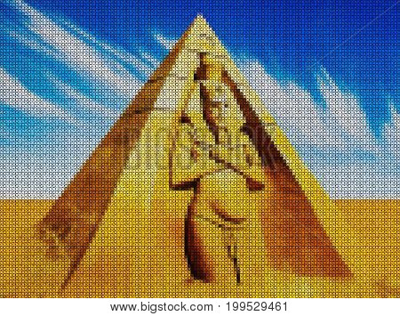 Illustration. Cross-stitch. Pharaoh Amenhotep and the pyramid against the blue sky.