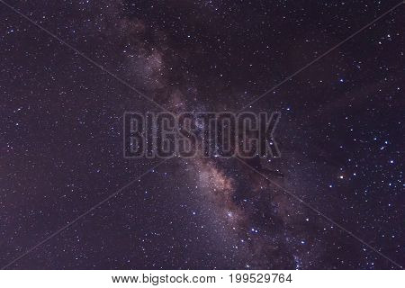 The Milky Way galaxy Night sky full of the stars found in Thailand. Long exposure astronomical photograph (Image contain certain grain or noise and soft focus.)