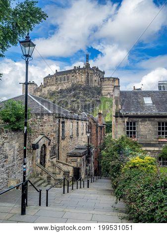 View of Edinburgh Castle from the vennel in the Grassmarket area of Edinburgh.