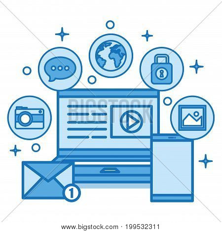 set for web and mobile applications of network internet technology vector illustration