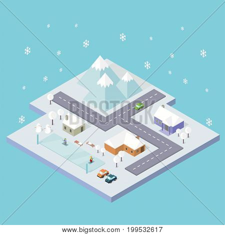 Isometric City Winter Conceptual Design | Isomatric Design with hight quality vector | Use for business, marketing, concept and much more. The set can be used for several purposes like: websites, print templates, presentation templates, and promotional ma