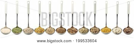 Variety of raw legumes and rices in ladles on white background