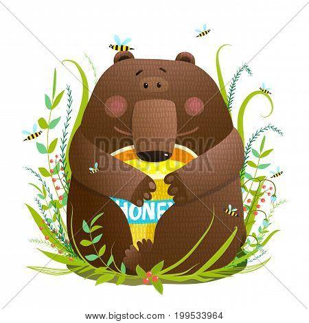 Little adorable bear enjoying tasty honey. Vector illustration.