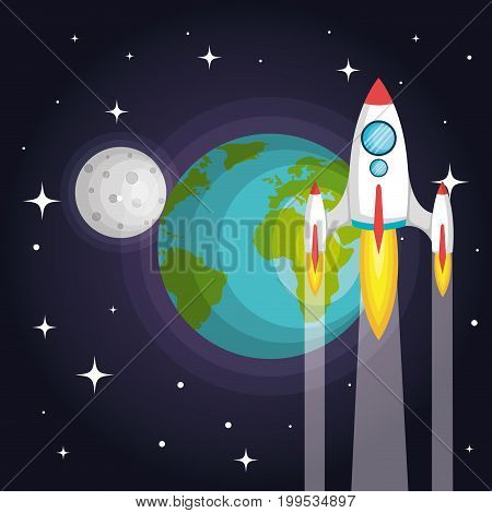 rocket spaceship planet earth to the moon vector illustration
