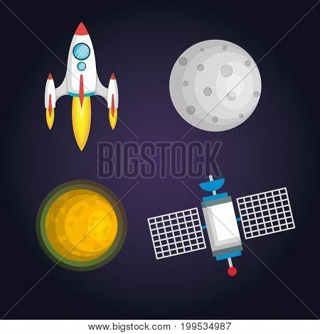 Cartoon vector illustration of space. Moon, planet, rocket, earth, cosmonaut, comet, universe Classification milky way Hand drawn Comics cosmos