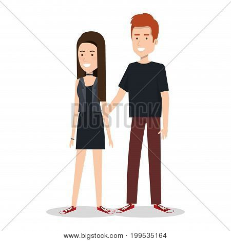 young couple teen character standing people vector illustration