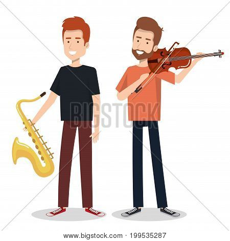 musicians and musical instruments concert entertainment vector illustration