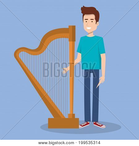 young man standing with harp music instrument vector illustration