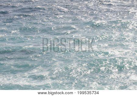 Blue Pacific Ocean water along coast of Big Sur, CA