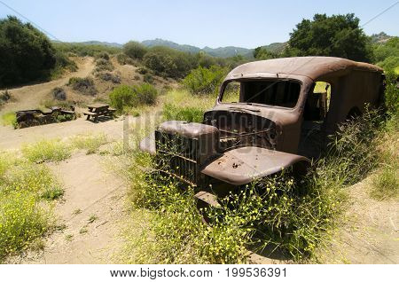 Remnants of the MASH television show site along Crags Rd. in Malibu Creek State Park, CA.