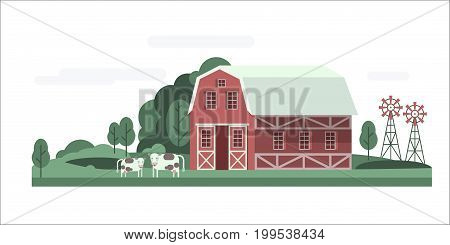 Agriculture and Farming. Rural landscape. Farm house landscape with cows and mills. Vector illustration.
