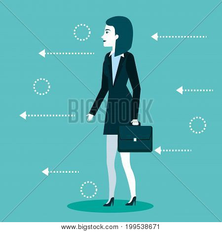 businesswoman standing wearing suit and briefcase vector illustration