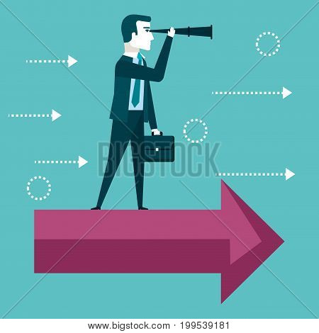 businessman vision concept looking through telescope standing on a red arrow vector illustration