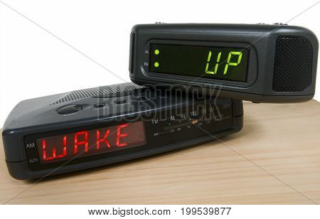Alarm clock on table signaling to wake up