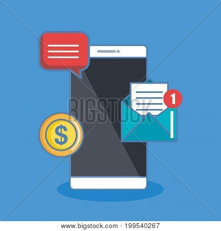Notification of an incoming email letter to a mobile phone. E-mailing, spam, e-commerce. Vibration smartphone. Thin line vector illustration isolated on color background. Flat style.