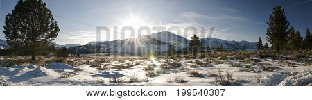 Winter panorama landscape in June Lake, California