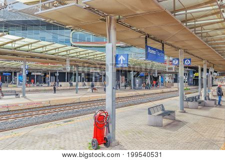 Rome , Italy - May 11, 2017 : Passenger Train, People On Rome Railways Stantion - Roma Tiburtina. It