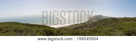 Panorama of coastline along Pacific Coast Highway (PCH. Highway 1) at Point Mugu State Park, California