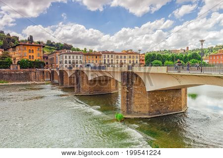 Florence, Italy - May 13, 2017 : Beautiful Landscape View Bank Of The Arno River Of The Florence - B