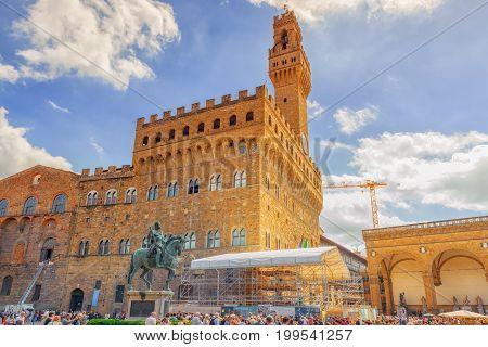 Florence, Italy- May 13, 2017: Palace Vecchio (palazzo Vecchio) In Piazza Della Signoria, Built In 1