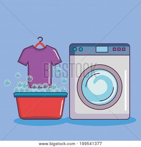 washing machine with basin tshirt soap bubbles vector illustration