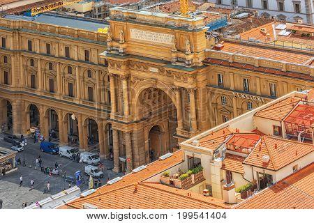Florence, Italy - May 13, 2017 : Above View Of Square Of Republic (piazza Della Repubblica).piazza D