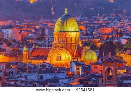 Above View Of The Great Synagogue Of Florence (sinagoga E Museo Ebraico).synagogue In The Historic C