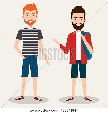two friendly man students friends together young vector illustration