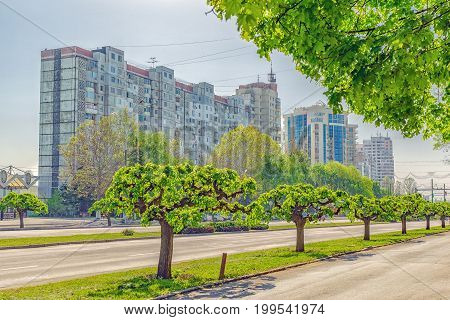 City View Of One Of The Main Avenues Of Chisinau Is Dacia Avenue In Summer Day. Republic Of Moldova.