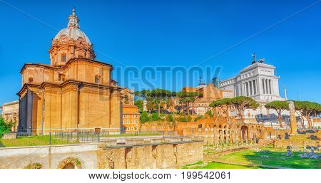 Archaeological And Historical Objects In Rome, United By The Name - Roman Forum.church Chiesa Dei Sa