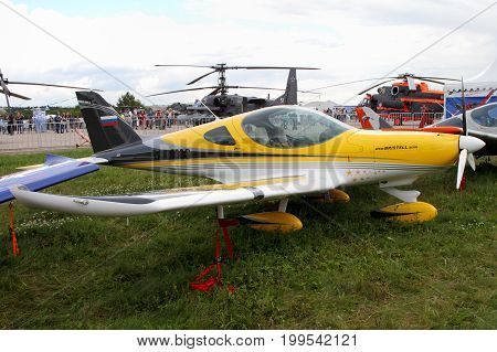 Moscow Region - July 21 2017: Yellow sports aircraft of the Czech company BRM Aero Bristell at the International Aviation and Space Salon in Zhukovsky.