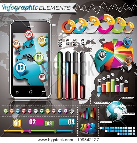 Vector Design Set Of Infographic Elements. World Map And Information Graphics On Mobile Phone. Eps 1