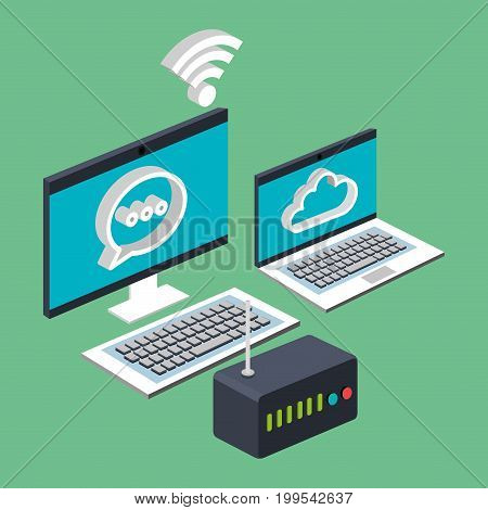 computer laptop wifi internet cloud router technology digital vector illustration