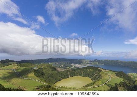 Landscape view over Miradouro da Grota do Inferno, Azores Portugal
