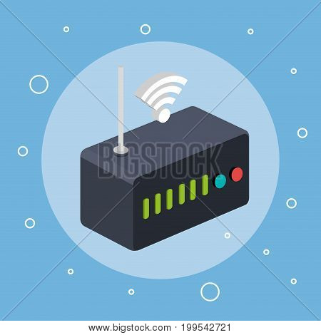router modem wifi internet signal connection technology vector illustration