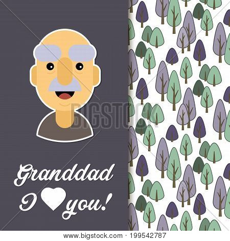 Happy day grandparents. Card for your greetings. Stock vector. Dear sweet beloved grandfather .