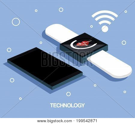 smartphone and smartwatch internet wearable technology vector illustration