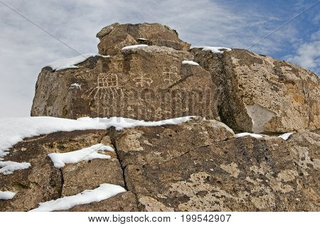 Red Canyon Petroglyphs along Fish Slough Road in Bishop CA during winter.