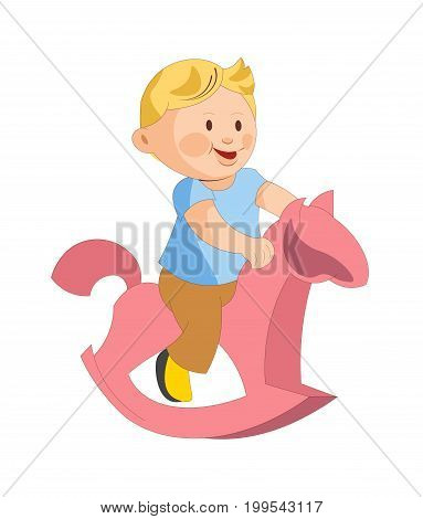 Cute plump boy in blue T-shirt, brown pants and yellow shoes rides pink toy horse isolated cartoon vector illustration on white background. Toddler plays on small attraction in form of animal.