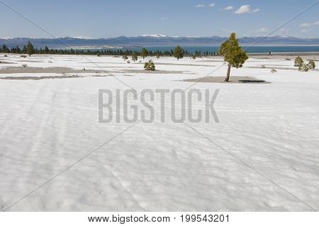barren land with Mono Lake in distance California