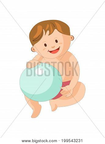 Adorable little boy in pink underpants sits with shiny rubber inflatable blue ball and smiles wide isolated cartoon flat vector illustration on white background. Plump toddler plays with toy.