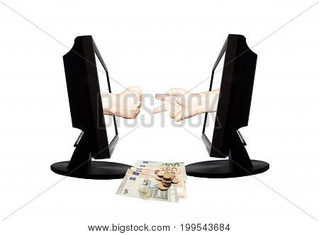 Virtual game by internet hand shape of scissors stone on white background with money euro banknotes and coins - internet business concept.